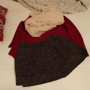 Madewell wool skirt with shades of burgandy